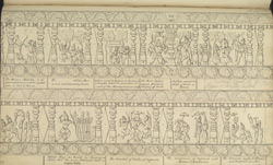 Narrative sculpture on the south side of the Amritesvara Temple at Amritpur, 1805. Third panel of the Ramayana frieze